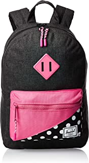 Herschel Kids' Heritage Children's Backpack, Black Crosshatch/Polka Dot/Fandango Pink, One Size