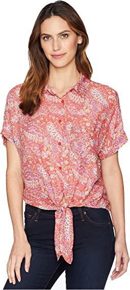 Printed Rayon Tie-Front Shirt