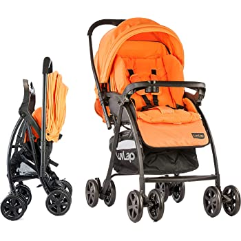 LuvLap Grand Stroller/Pram, Easy Fold, for Newborn Baby/Kids, 0-3 Years (Orange)