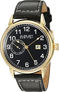 August Steiner Men's Silver-Tone Dial Leather Band Watch - AS8182YGB
