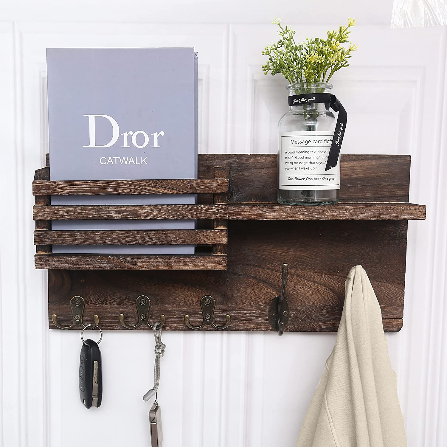 Key Holder for Wall, Key Hanger Mail Sorter Organizer Wall PaulowniaWood Key Hooks for Wall Decorative, Home Decor and Storage for Entryway, Hallway, Office, Mudroom Brown