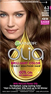 Garnier Olia Ammonia-Free Brilliant Color Oil-Rich Permanent Hair Color, 6.3 Light Golden Brown (1 Kit) Brown Hair Dye (Packaging May Vary)
