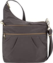 Travelon Anti-theft Signature 3 Compartment Cross Body Bag, Smoke