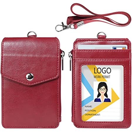 Premium Leather ID Holder with Nylon Lanyard for Office School ID Leather Badge Holder with Zipper Pocket,1 Clear ID Window and 3 Card Slots with Secure Cover Driver Licence Credit Cards