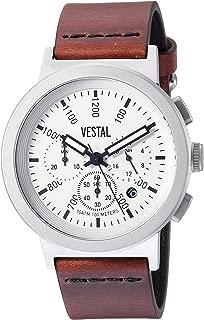 Vestal Stainless Steel Quartz Watch with Leather Strap, Brown, 22 (Model: SLR44CL01.CVBK)