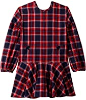 Oscar de la Renta Childrenswear - Long Sleeve Plaid Crew Neck Dress (Little Kids/Big Kids)