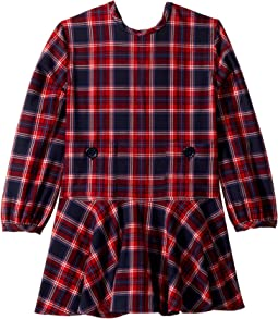 Long Sleeve Plaid Crew Neck Dress (Little Kids/Big Kids)