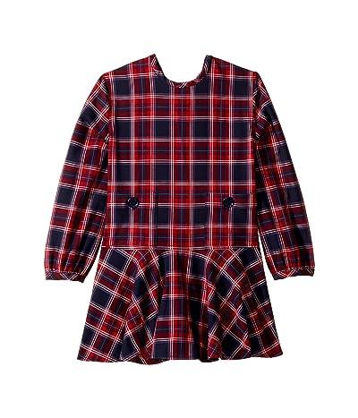 Oscar de la Renta Childrenswear Long Sleeve Plaid Crew Neck Dress (Little Kids/Big Kids) (Poppy Multi Red) Girl