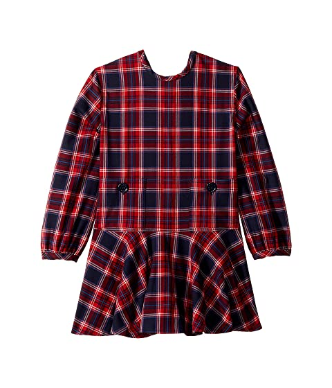 Oscar de la Renta Childrenswear Long Sleeve Plaid Crew Neck Dress (Little Kids/Big Kids)