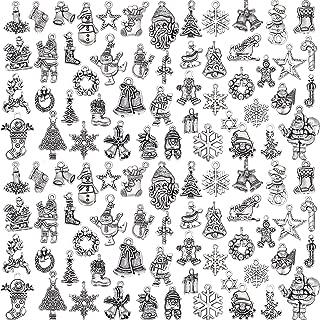 100 Pieces Christmas Charms Antique Silver Pendants Christmas Jewelry Pendant Accessory for DIY Necklace Bracelet
