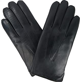 Mens Black Leather Gloves, Rabbit Fur lined Genuine Leather Touchscreen Winter Gloves