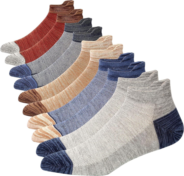 5-8 Pairs Mens Athletic Breathable Ankle Socks Non-slid Low Cut Socks Cotton Mesh Top Fresh Ventilation Socks