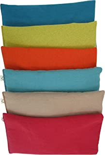 Peacegoods Unscented Organic Flax Seed Eye Pillow - Pack of (6) - Soft Cotton Flannel 4 x 8.5 - Flannel - Teal Green Aqua red Beige Orange