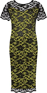 Plus Size Women's Lace Lined Short Sleeve Midi Dress