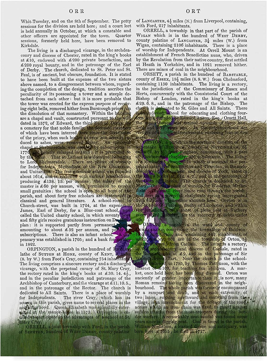Trademark Fine Art Wolf and Garland Art by Fab Funky, 14x19