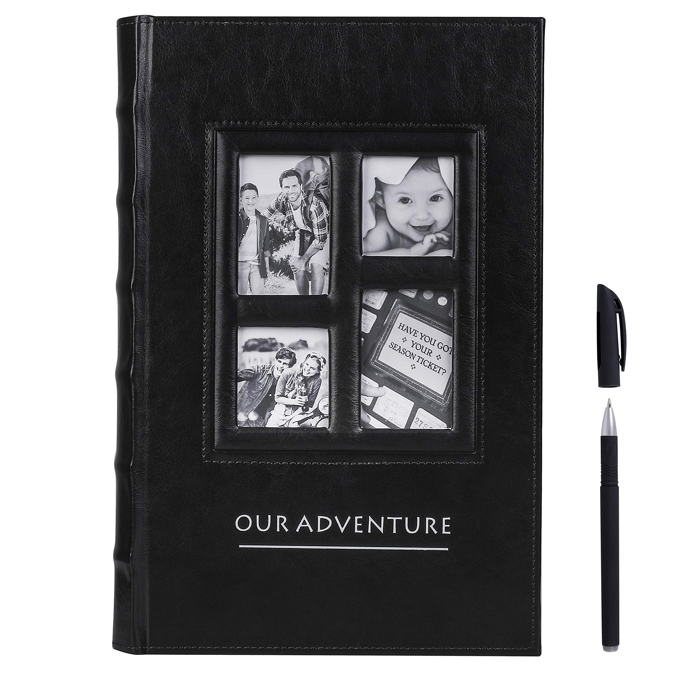 Benjia Photo Album 4x6 500 Pockets Pictures Extra Large Capacity Vintage Leather Cover Photo Albums that Holds 500 4x6 Photos Black