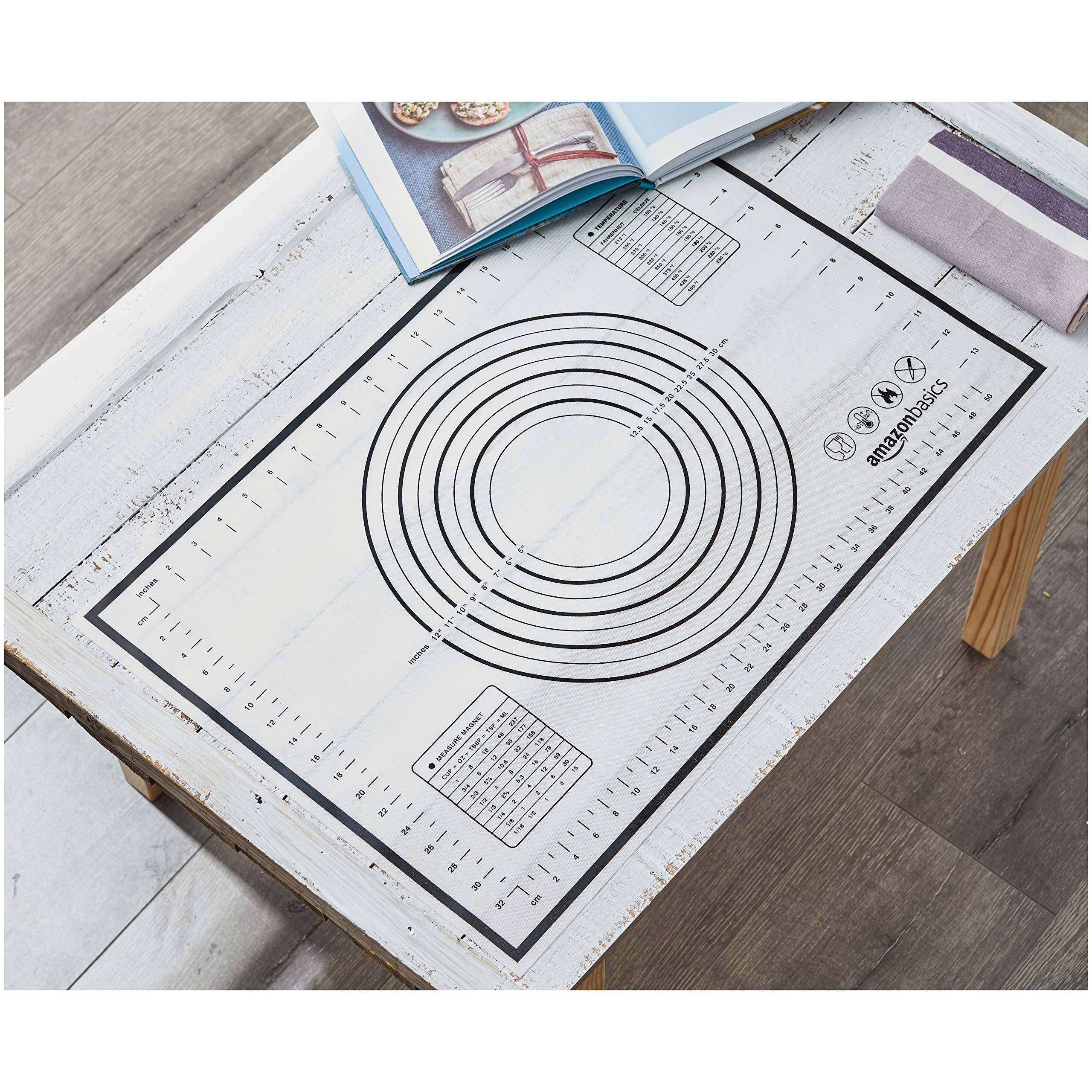AmazonBasics - Tapete de silicona para amasar y hornear 60 x 40 cm ...