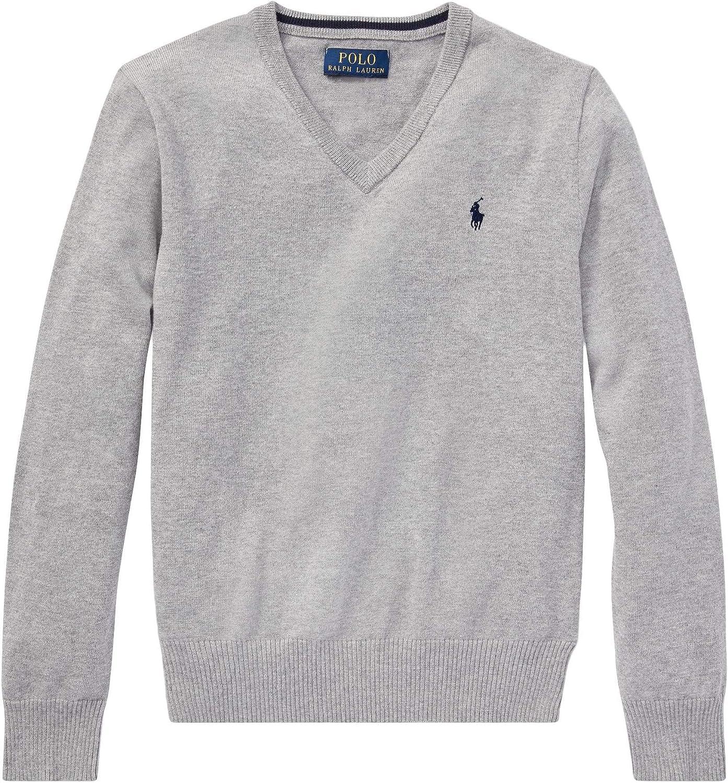 Ralph Lauren Polo Boys' 8-20 Cotton V-Neck Sweater, White