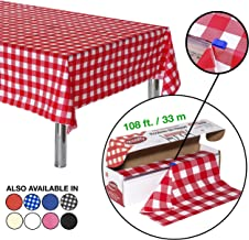 Neatiffy 54 Inch x 108 Feet Thick Plastic Table Cloth Roll Party/Banquet, Durable Table Cover (Reusable/Disposable) Tablecloths for Rectangle/Round/Square Tables, 12 Picnic Pack (Red Checkered)
