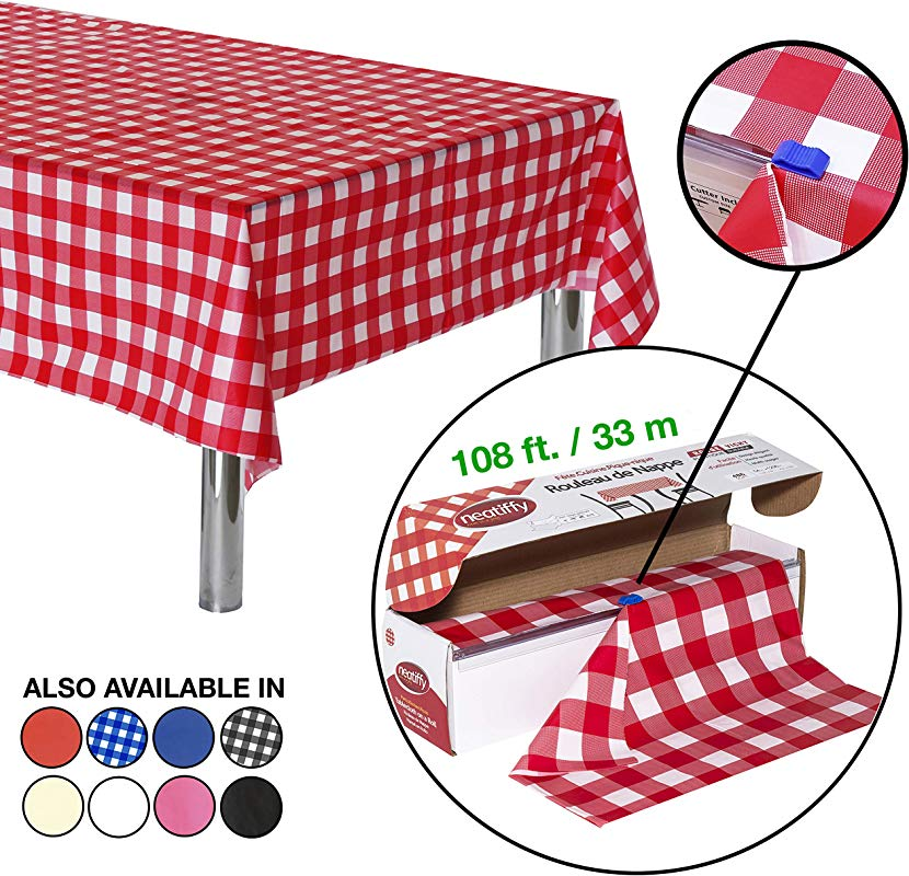 Neatiffy 54 Inch X 108 Feet Thick Plastic Table Cloth Roll Party Banquet Durable Table Cover Reusable Disposable Tablecloths For Rectangle Round Square Tables 12 Picnic Pack Red Checkered