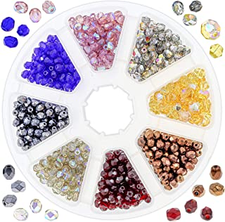 Over 1600 Czech Glass Beads for Jewelry Making Supplies for Adults DIY Kit, AB Fire Polished and 4 mm Solid Czech Glass Faceted Beads, Includes 2 Free Glass Bead Stretch Chokers for Inspiration