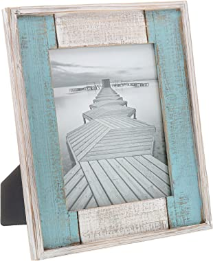 """Barnyard Designs Rustic Distressed Picture Frame, 8"""" x 10"""" Wood Photo Frame in White and Turquoise"""