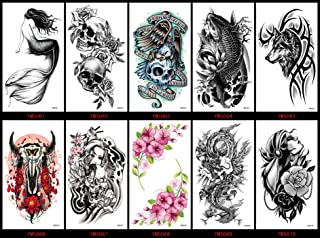 GGSELL GGSELL look like real temporary tattoos 10pcs Halloween fake tattoo stickers in a packages,includingwolf,dragon,flowers,lady, skull heads,mermaid,fish,ox head,etc.