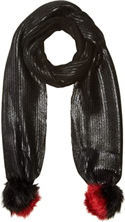 BSS3654 Coated Knit Scarf with Faux Fur Pom