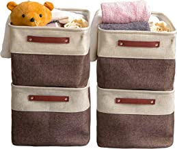 VK Living Large Foldable Storage Bin Collapsible Fabric Storage Basket Cube PU Handles for Organizing Toys Clothes Kids Ro...