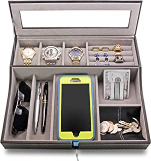 HOUNDSBAY Navigator Big Dresser Valet Tray for Men with Watch Box Jewelry Organizer & Angled Charging Station (Grey)