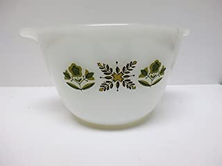 Vintage Anchor Hocking Fire King Bowl with Green Meadow Flowers