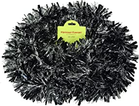 Christmas Concepts® 3m / 9.8ft Chunky/Fine Christmas Tinsel - Christmas Decoration - Tinsel (Black & Silver)
