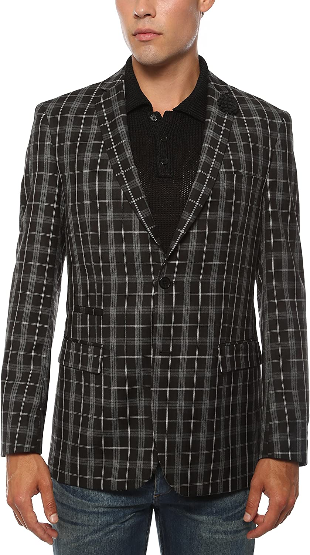 Ferrecci Men's Alton Black & White Slim Fit Plaid Blazer