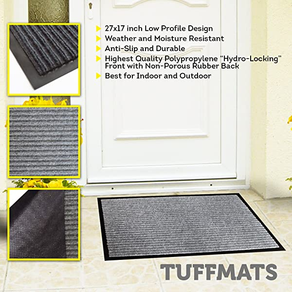 Door Mats Outdoor Indoor Doormat For Outside Or Inside Home RV Or Camper Non Slip Technology Provides Safety In Your Home Low Profile Charcoal Grey Washable By TuffMats