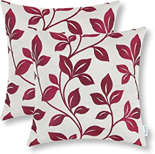 CaliTime Pack of 2 Soft Throw Pillow Covers Cases for Couch Sofa Home Decoration Cute Growing Leaves 18 X 18 Inches Burgundy