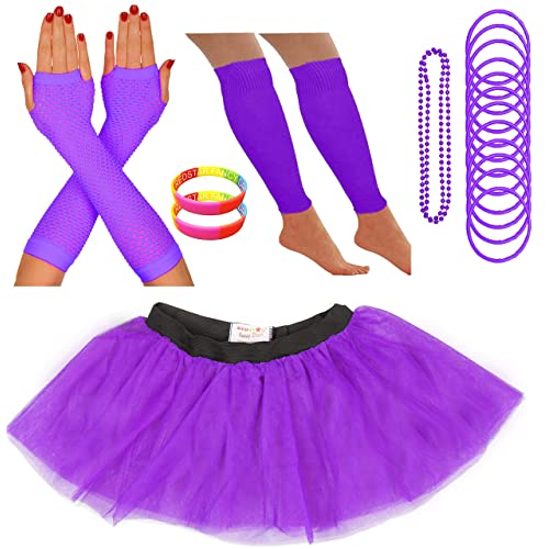 a9cff0f9ae REDSTAR FANCY DRESS Neon Tutu Skirt Leg Warmers Fishnet Gloves Necklace  Beads Gummy Bracelets and Neon