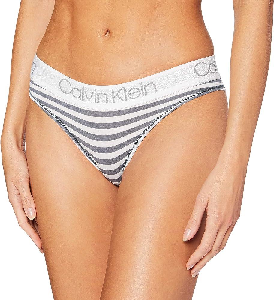 Calvin klein, mutandine, slip per donna, 95% cotone 5% elastan, grigio 000QD3752EE