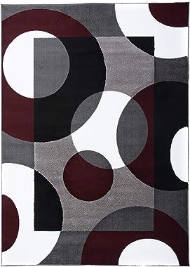 "Rugshop Modern Circles Area Rug, 5' 3"" x 7' 3"", Burgundy"