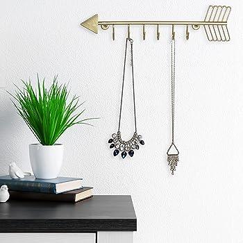 MyGift Arrow Design Wall Mounted Brass-Tone Metal 6 Hook Necklace Organizer Hanging Rack