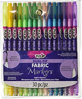 Tulip Permanent Nontoxic Fabric Markers 30 Pack - Dual Tip with Fine Tip & Brush Tip, Child Safe, Minimal Bleed & Fast Drying - Premium Quality for T-shirts, Clothes, Shoes, Bags & Other Fabric Materials