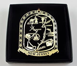 New Jersey State Brass Ornament Black Leatherette Gift Box