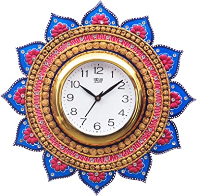 eCraftIndia Analog Wall Clock(Gold & Blue, with Glass)