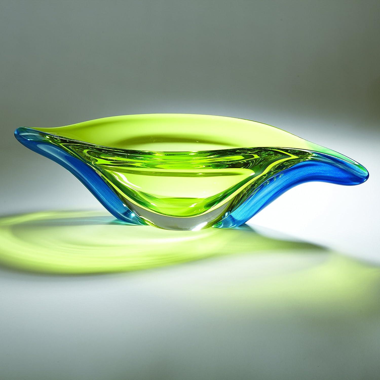 Global Views Swish Bowl Aqua/Lime Art Glass, Clear ...   Amazon.com