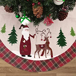 Valery Madelyn 48 inch Farmhouse Red Green White Burlap Christmas Tree Skirt with Santa Reindeer and Tartan Trim, Themed with Christmas Ornaments (Not Included)