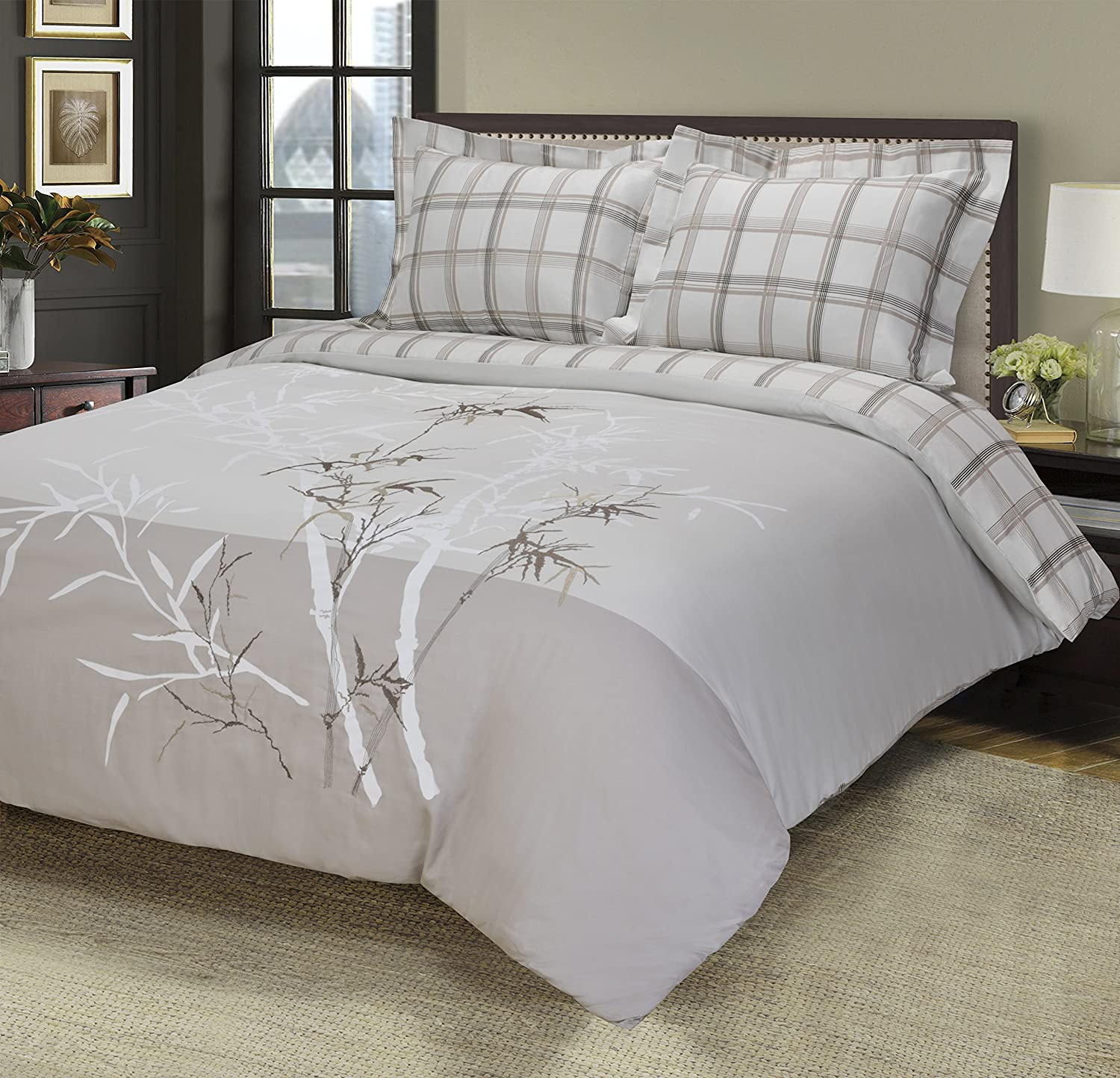 100% Cotton, 3-Piece King California King, Single Ply, Soft, Embroidered Elmwood Duvet Cover Set