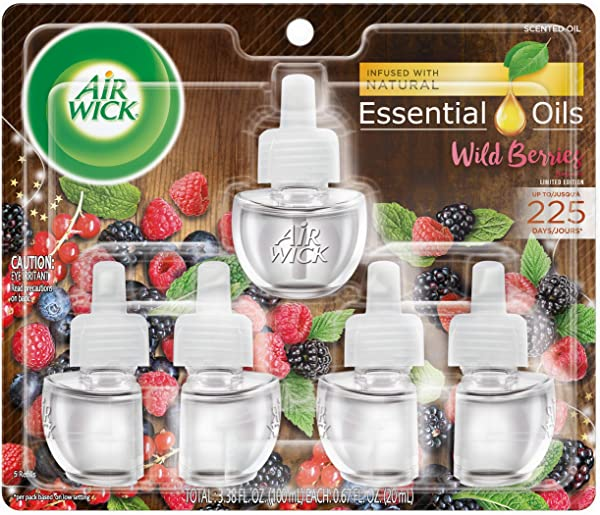 Air Wick Plug In Scented Oil 5 Refills Wild Berries 5x0 67oz Essential Oils Air Freshener
