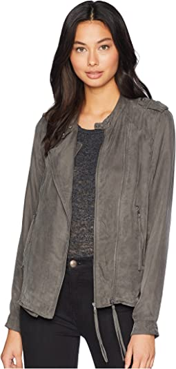 c2d91a916d6 Blank nyc real leather suede moto jacket with black and grey detail ...