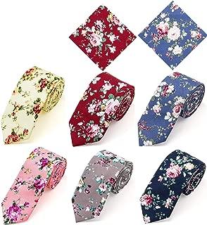 Cotton Floral Print Skinny Tie Slim Necktie Pocket Square Set for Special Event, Party, Wedding