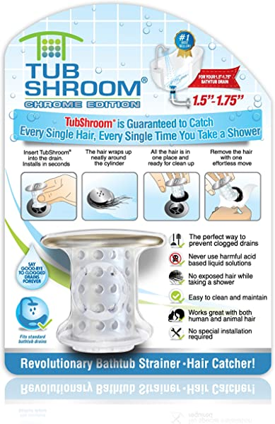 TubShroom Chrome Edition Revolutionary Tub Drain Protector Hair Catcher Strainer Snare