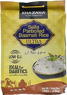 Khazana Ideal for Diabetics Low G.I. Index Value Sella Parboiled Basmati Rice Ultra - 10 lbs